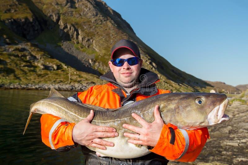 Огромные рыбы треска Обнимает стекла рыболова стоковое фото rf
