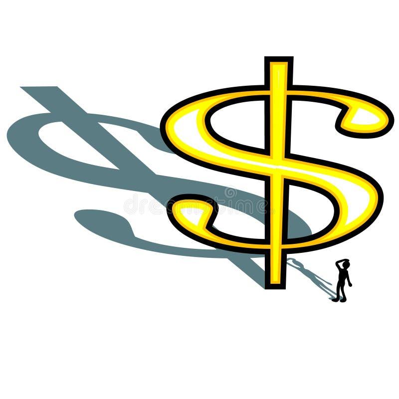 Огромный знак доллара бросая длинную тень при силуэт человека смотря вверх изолированную иллюстрацию стоковые изображения rf