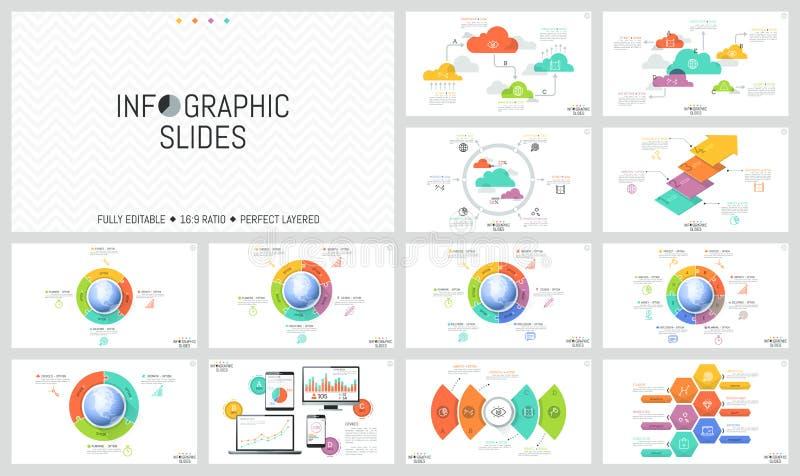 Огромный комплект минимальных infographic планов дизайна Круглые диаграммы при части помещенные вокруг глобуса, диаграммы мозаики бесплатная иллюстрация
