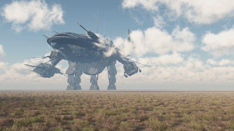 Огромный корабль в ландшафте иллюстрация штока