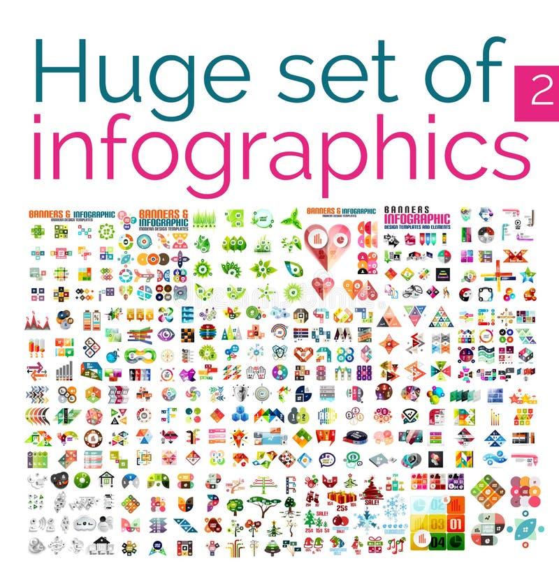 Огромный мега комплект infographic шаблонов бесплатная иллюстрация