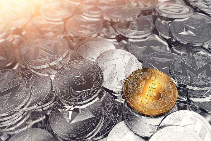 Огромный стог физических cryptocurrencies с Bitcoin на фронте как руководитель новых виртуальных денег иллюстрация вектора
