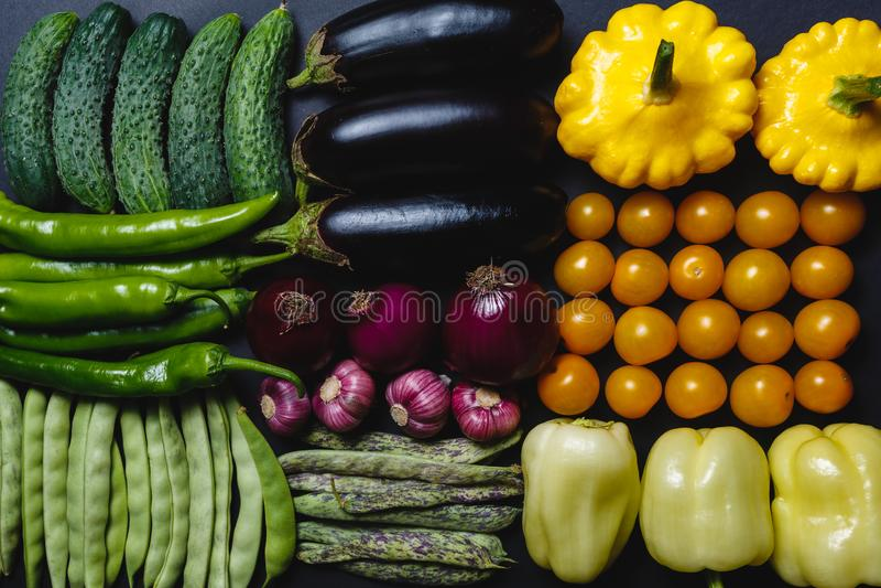 Огурцы, горячие перцы, стручки фасоли, горохи, aubergines, сладостные перцы, желтые томаты и сквоши аранжированы в ряд на черноте стоковая фотография rf