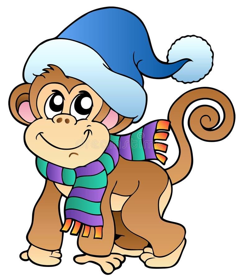 одевает милую зиму обезьяны бесплатная иллюстрация