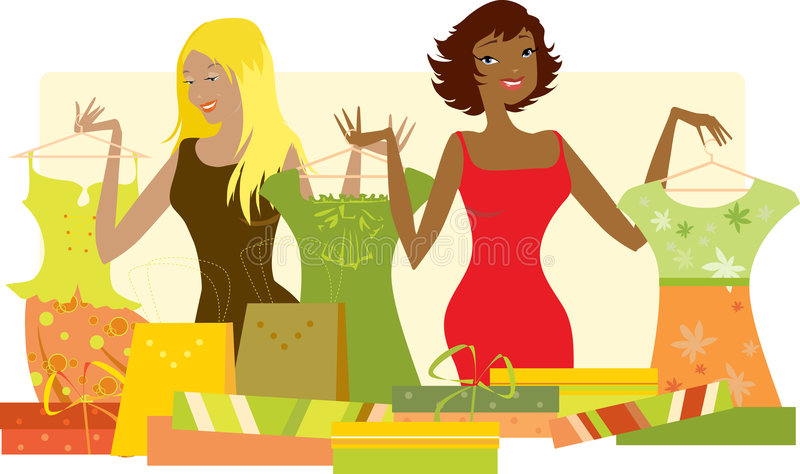 одевает новых женщин покупкы иллюстрация штока