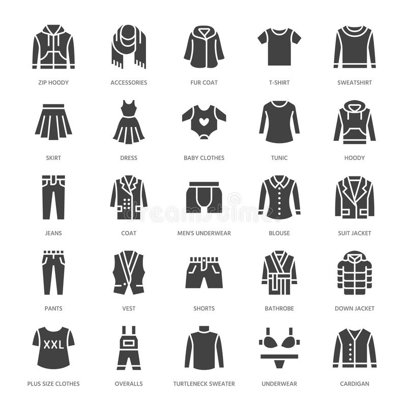 Одежда, значки глифа fasion плоские Люди, одеяние женщин - оденьте, вниз куртка, джинсы, нижнее белье, фуфайка силуэт иллюстрация вектора