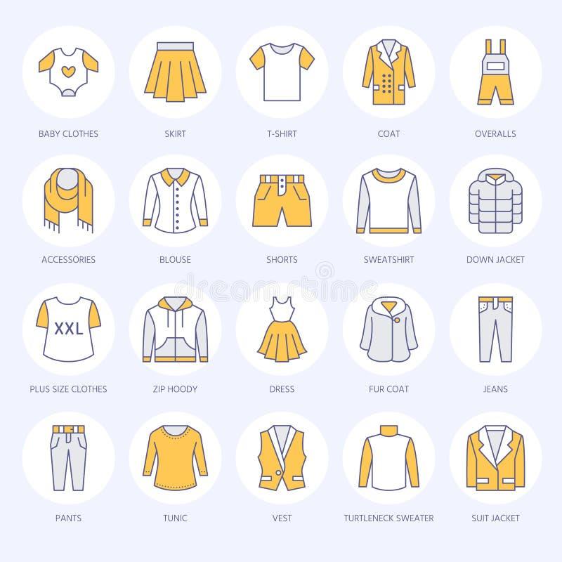 Одежда, линия значки fasion плоская Люди, одеяние женщин - оденьте, вниз куртка, джинсы, нижнее белье, фуфайка, меховая шыба иллюстрация вектора