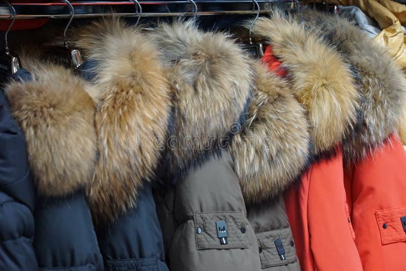 Одежда outerwear куртки клобука магазина бутика пальто воротника стоковые фотографии rf