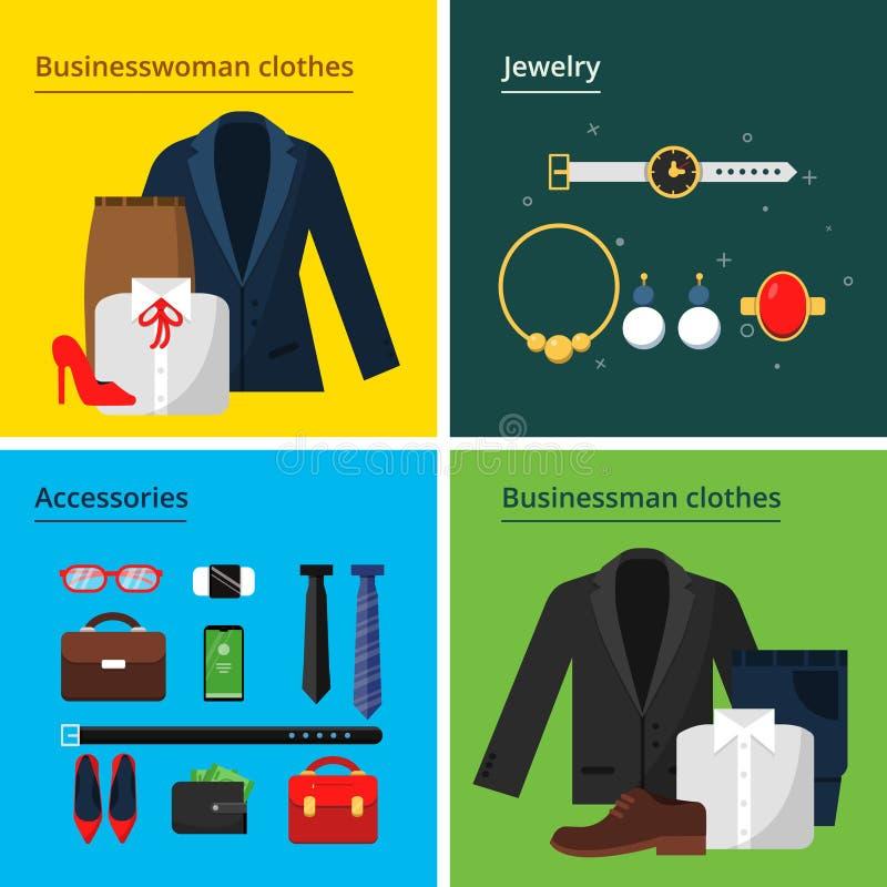 Одежды дела Мужчина и женская сумка шляпы куртки костюма юбки стиля дела шкафа офиса и концепция вектора деталей собственной личн иллюстрация вектора