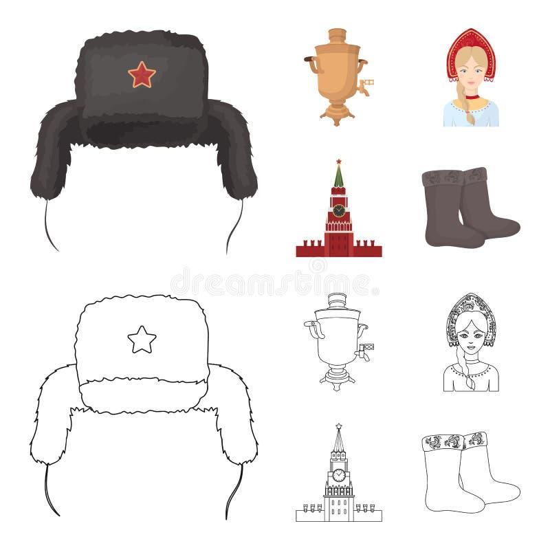 Одежды, женщина, Кремль, строя Значки собрания страны России установленные в шарже, запасе символа вектора стиля плана иллюстрация штока