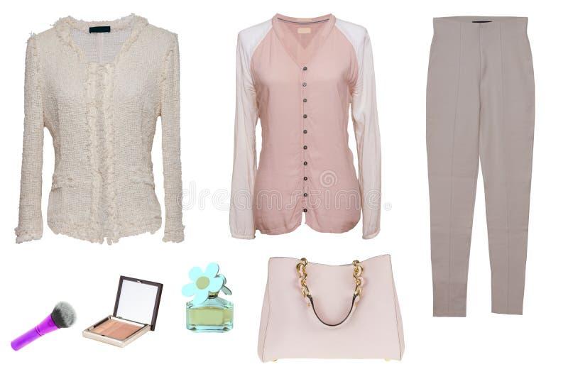 Одежды женщины коллажа Установите стильных и ультрамодных блузок женщин, брюк, сумки и аксессуаров на белой предпосылке стоковая фотография