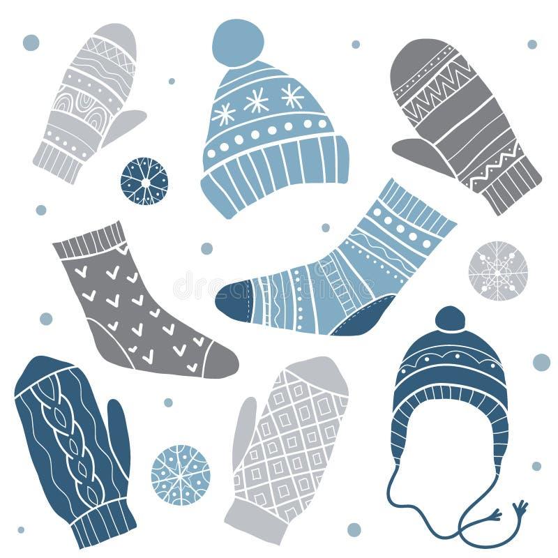 Одежды зимы вектор комплекта сердец шаржа приполюсный бесплатная иллюстрация