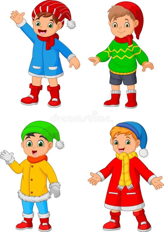Одежды зимы мальчика мультфильма нося иллюстрация вектора