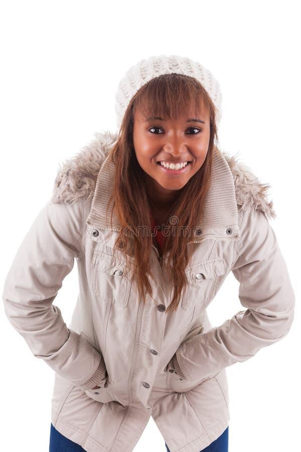 Одежды зимы молодой женщины афроамериканца нося стоковые изображения rf