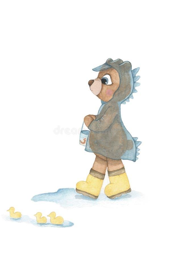 Одежды медведя младенца нося согласно различной погоде иллюстрация штока