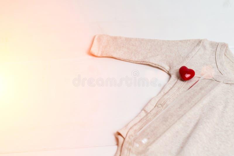 Одежды младенца с пробиркой и сердцем Концепция - IVF, in vitro землеудобрение Ждать младенец, беременная тонизировано стоковые фото