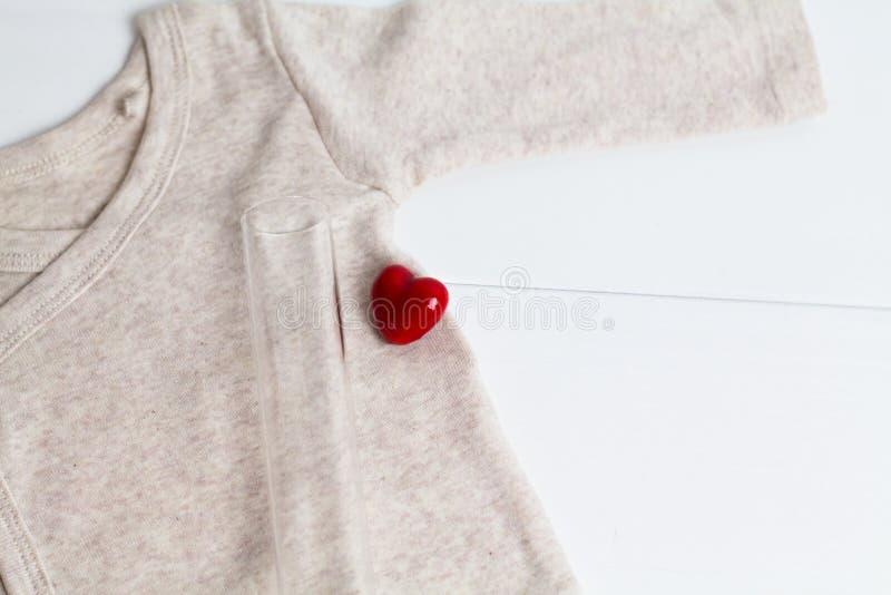 Одежды младенца с пробиркой и сердцем Концепция - IVF, in vitro землеудобрение Ждать младенец, беременная стоковое фото