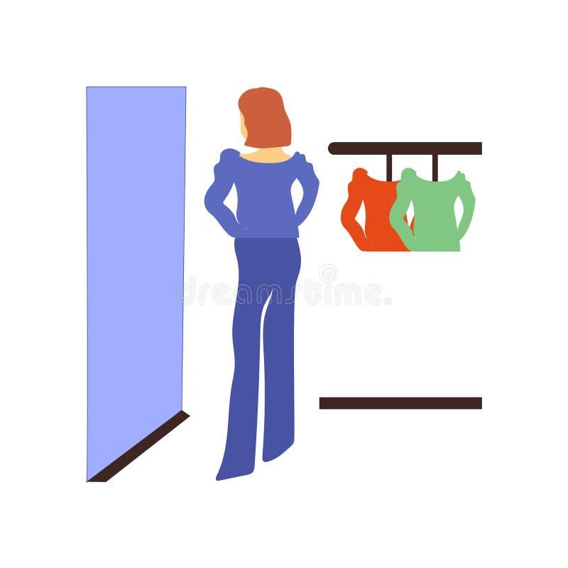 одежды покупок женщины на знаке и символе вектора вектора продажи изолированные на белой предпосылке, одеждах покупок женщины на  иллюстрация штока