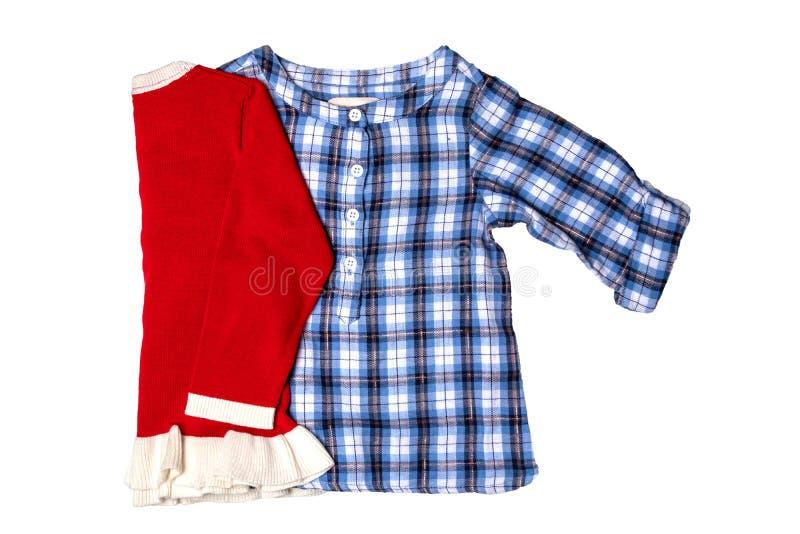 Одежды рождества Голубая checkered рубашка девушки детей с gir ребенка стоковое изображение
