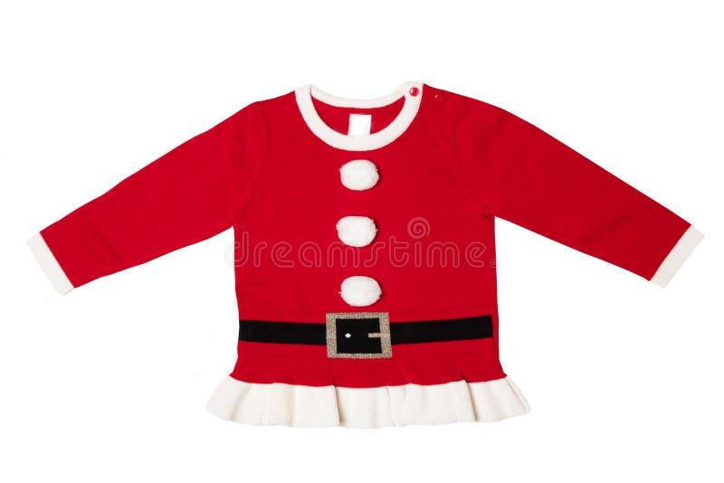 Одежды рождества Красные связанные одежды рождества изолированные на w стоковое изображение rf