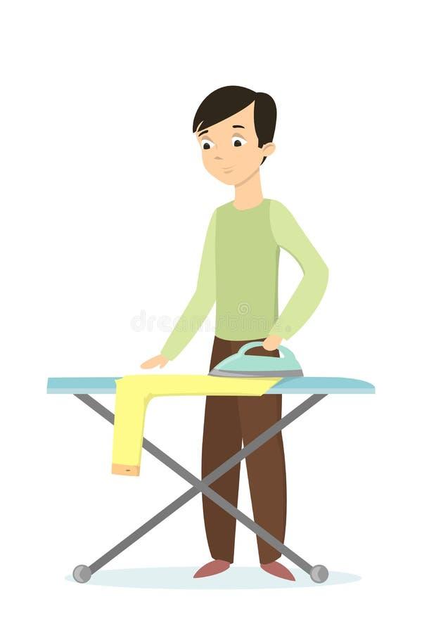 одежды утюживя человека иллюстрация вектора