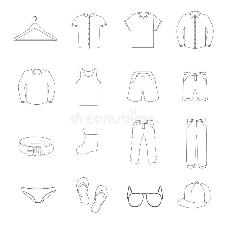 Одежды человека в белых значках установили вектор иллюстрация вектора