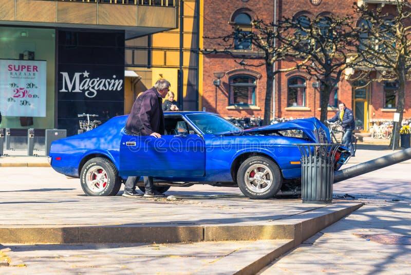 Оденсе, Дания - 29-ое апреля 2017: Отава автокатастрофы в Od стоковые изображения rf