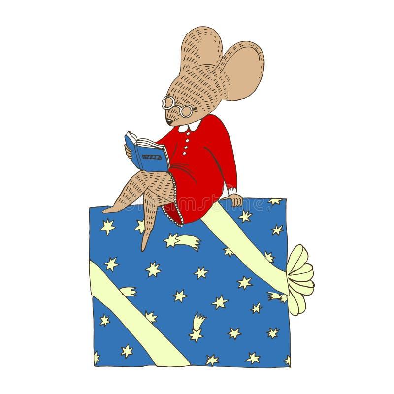 Одетая мышь сидит на большой подарочной коробке рождества и читает книгу иллюстрация вектора