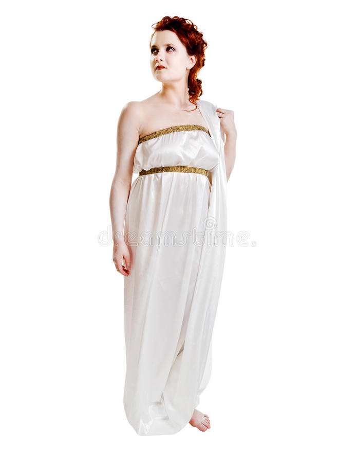 одетьнная costume белизна девушки греческая стоковое изображение