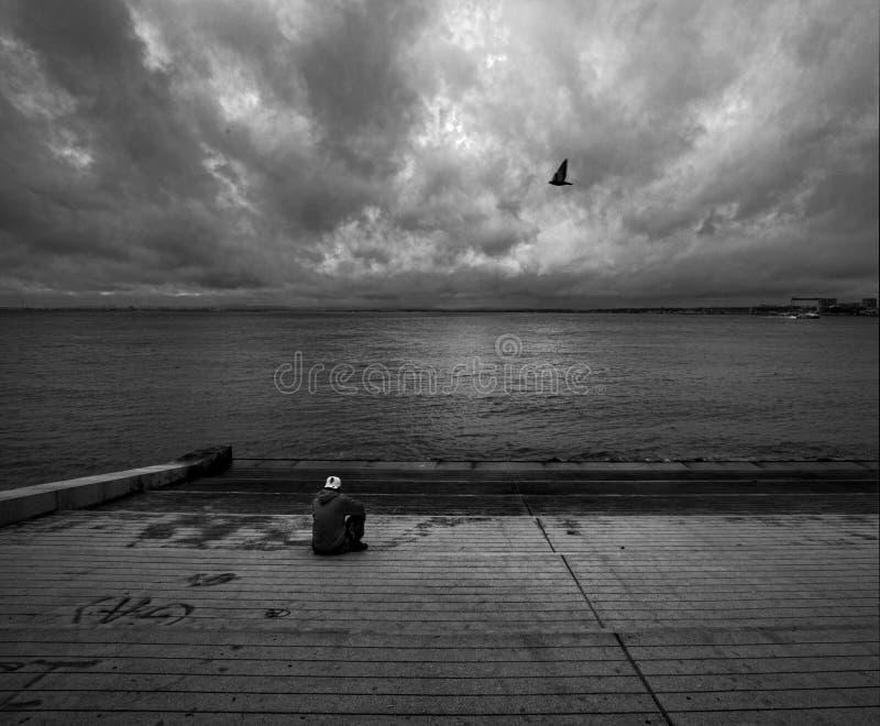 Одиночество в Лиссабоне Португалия стоковая фотография rf