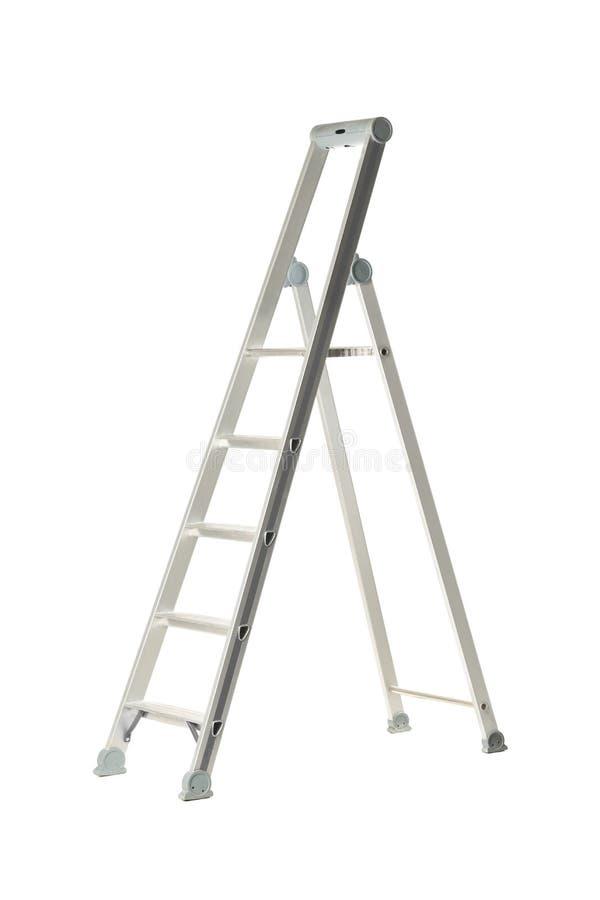 Одиночная алюминиевая складывая лестница шага металла изолированная на белизне стоковые фотографии rf