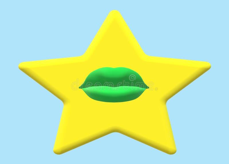 Одиночная желтая золотая звезда с зеленые губы в центре иллюстрация вектора