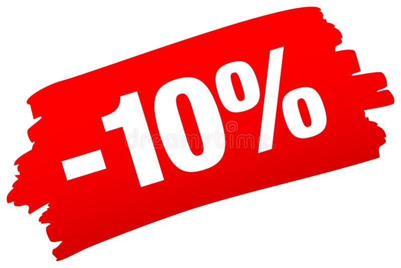 Одиночная изолированная красная продажа Brushstroke минус 10 процентов иллюстрация штока