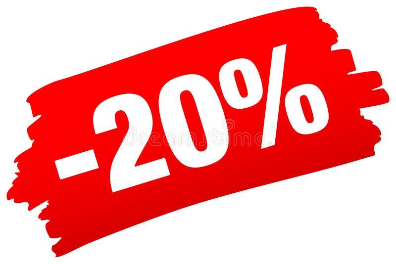 Одиночная изолированная красная продажа Brushstroke минус 20 процентов иллюстрация штока