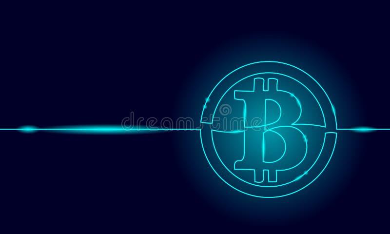 Одиночная непрерывная линия силуэт cryptocurrency bitcoin искусства Технология международных банковских дел финансов Blockchain с иллюстрация штока
