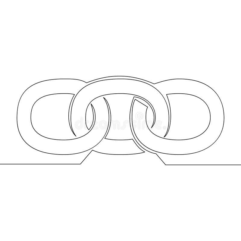 Одиночная непрерывная линия blockchain соединяя вздох иллюстрация штока
