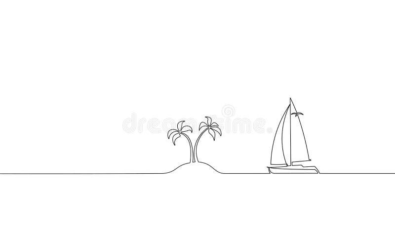 Одиночная непрерывная одна линия каникулы перемещения океана искусства Яхты корабля острова праздника рейса моря ладонь острова т бесплатная иллюстрация