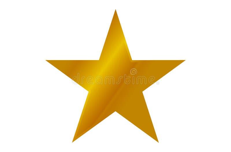 Одиночная сияющая звезда золота изолированная на белой предпосылке иллюстрация штока