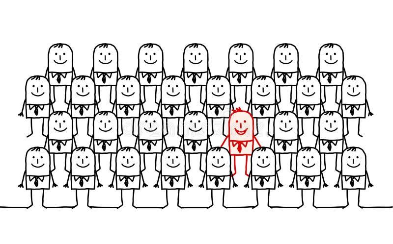 одиночная человека толпы иллюстрация штока