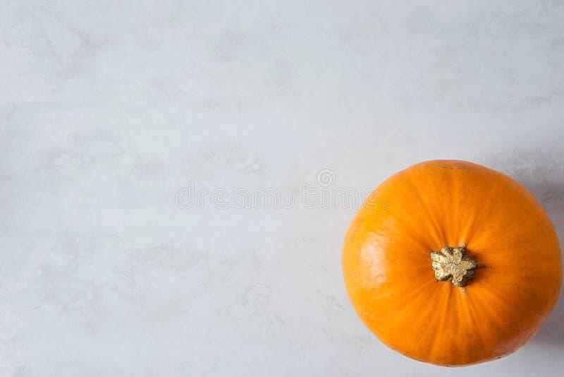 Одиночная яркая оранжевая тыква на серой каменной предпосылке Сбор благодарения падения осени стоковые фото