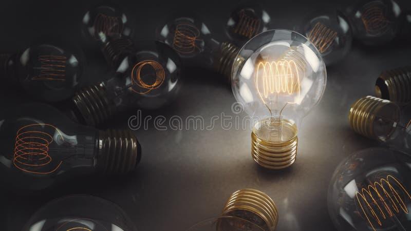 Одиночное 3D проиллюстрировало раскаленную добела электрическую лампочку окруженную множественными шариками на отражательной пове стоковая фотография rf