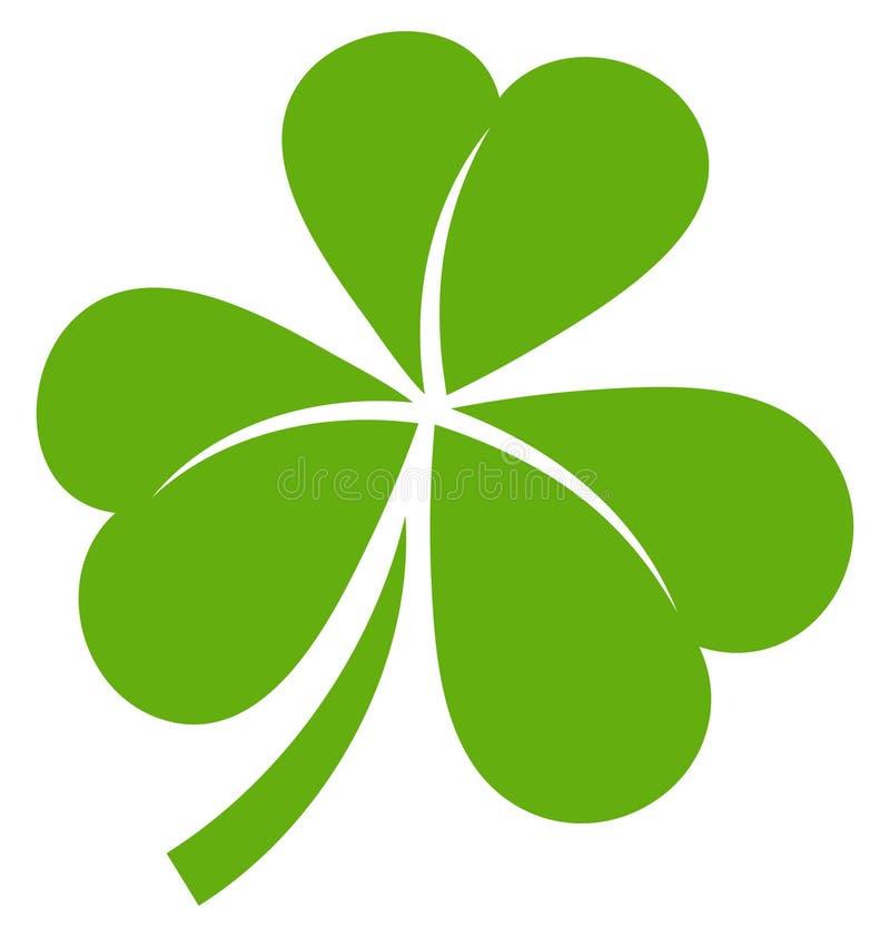 Одиночный графический зеленый цвет листьев Shamrock 3 иллюстрация штока