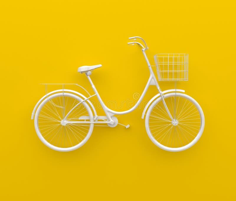 Одиночный ретро велосипед покрашенный в monochrome белизне Изолировано на желтой предпосылке Абстрактная принципиальная схема 3d  бесплатная иллюстрация