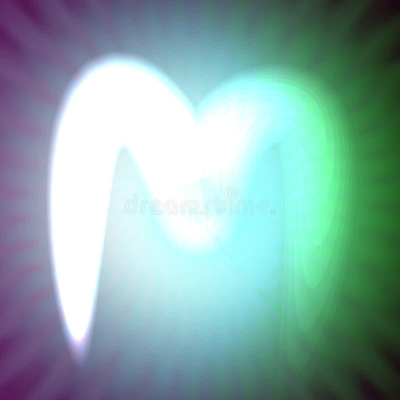 Одиночный свет - голубое неоновое письмо m иллюстрации вектора иллюстрация вектора