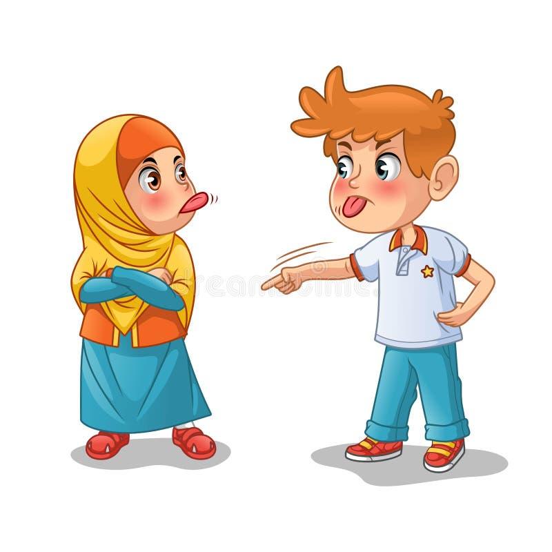 Один другого мусульманской девушки и мальчика насмешливый путем показывать их языки иллюстрация вектора