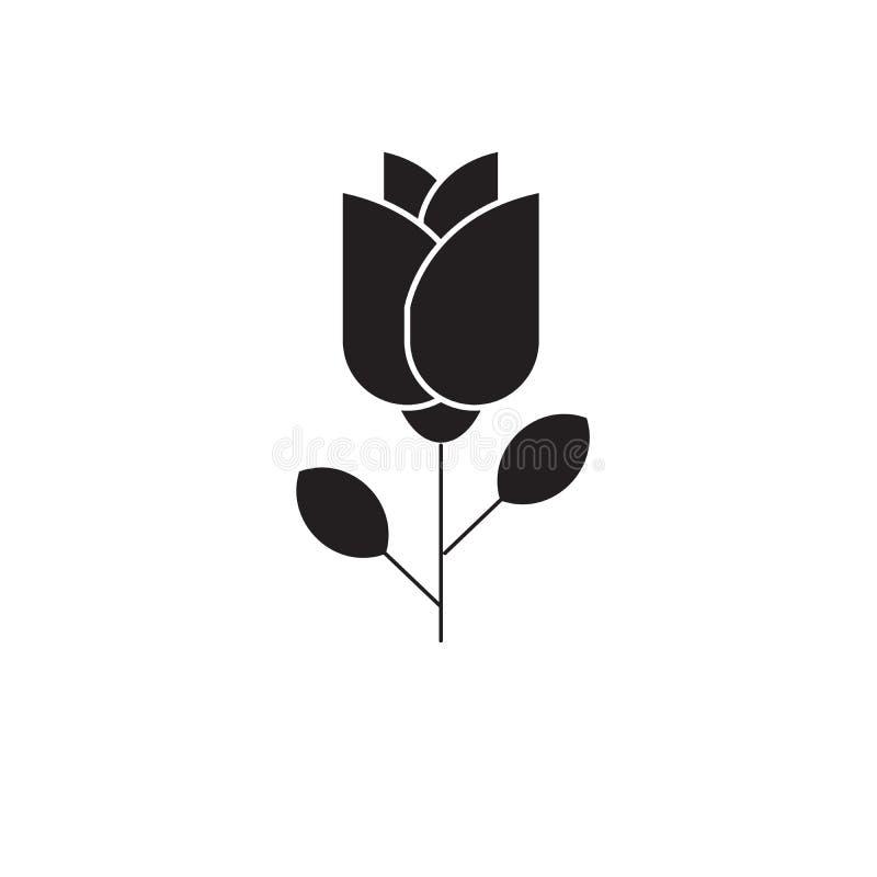 Один значок концепции вектора черноты розы Одна розовая плоская иллюстрация, знак иллюстрация вектора