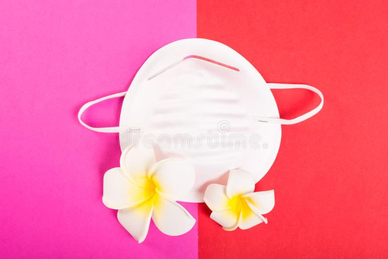 Один лицевой щиток гермошлема на розовой и красной предпосылке с экзотическими цветками стоковые изображения rf