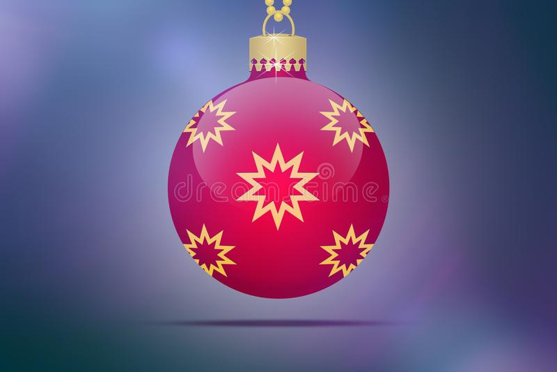 Один одиночный красный шарик рождественской елки смертной казни через повешение с желтыми и золотыми орнаментами звезд на голубой иллюстрация вектора