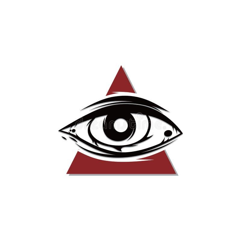 один символ знака вероисповедания культа глаза иллюстрация вектора