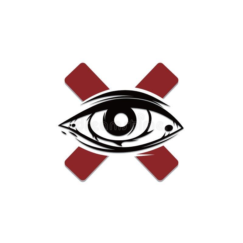 один символ знака вероисповедания культа глаза иллюстрация штока